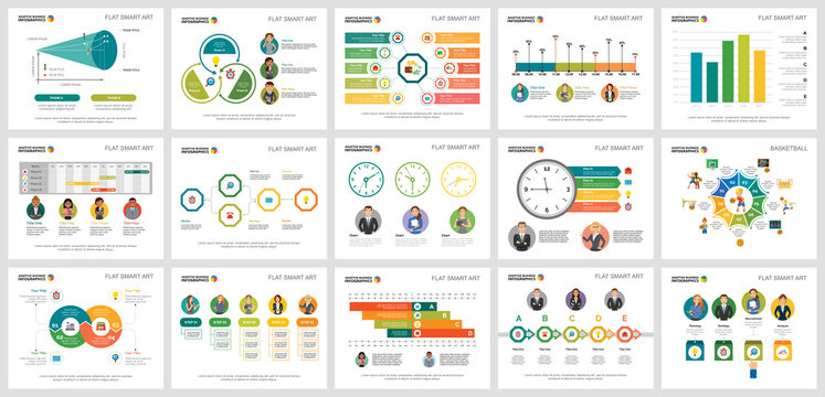 Colorful consulting or workflow concept infographic charts set. Business design elements for presentation slide templates. Can be used for financial report, workflow layout and brochure design.