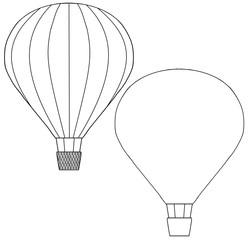 気球2機 線画 枠