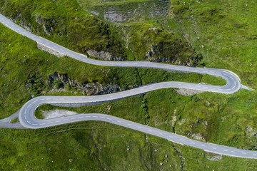 Aerial photo of mountain pass road Oberalppass, Canton Graubunden, Switzerland, Europe