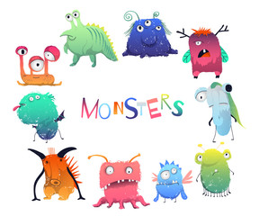 Cute monsters set. Cartoon characters in color pencil style. Isolated objects on white background. Vector illustration