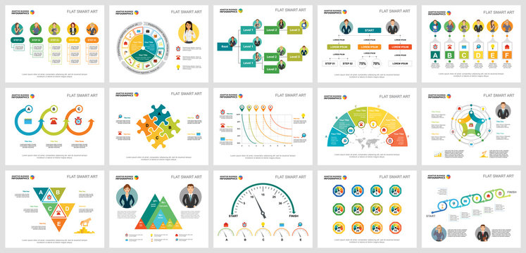 Colorful planning or startup concept infographic charts set. Business design elements for presentation slide templates. For corporate report, advertising, leaflet layout and poster design.