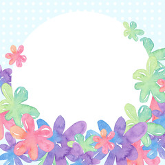 Round white frame with flowers on a blue background in polka dots. Watercolor illustration.