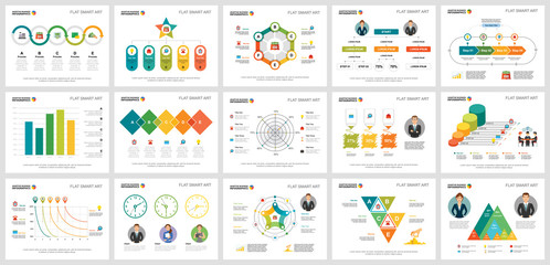 Colorful statistics and finance concept infographic charts set. Business design elements for presentation slide templates. For corporate report, advertising, leaflet layout and poster design.