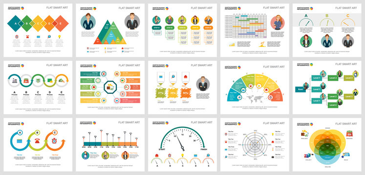 Colorful statistics or economy concept infographic charts set. Business design elements for presentation slide templates. For corporate report, advertising, leaflet layout and poster design.