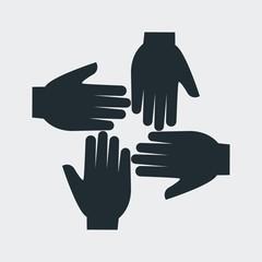 Icono plano cuatro manos en fondo gris