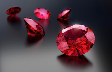 Ruby group on gradient background 3d rendering.
