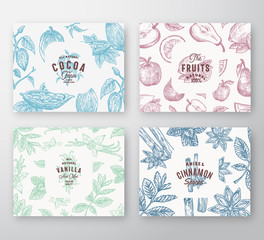 Hand Drawn Fruits, Cocoa Beans, Mint, Nuts and Spices Cards Set. Abstract Vector Sketch Pattern Backgrounds Collection with Classy Retro Typography and Vintage Labels.