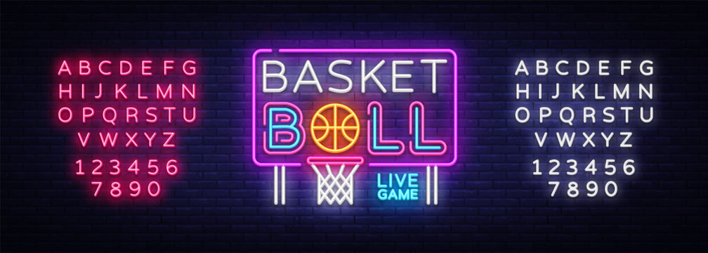 Basketball neon sign vector. Basketball Design template neon sign, light banner, neon signboard, nightly bright advertising, light inscription. Vector illustration. Editing text neon sign