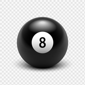 Vector illustration billiards. Eight Ball. Isolated on a transparent background. 8. EPS 10