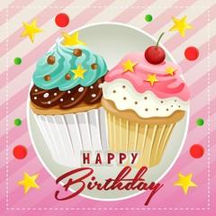 happy birthday sweet pink muffin cupcake