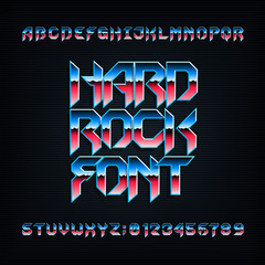 Hard rock alphabet font. Metal effect beveled colorful letters, numbers and symbols. Stock vector typeset for your design.