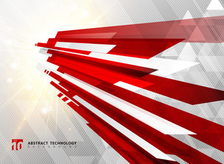 Abstract perspective technology geometric red color shiny motion background and lines texture with lighting burst effect.