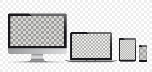 Vector Set Black Monitor Notebook Tablet Smartphone Transparent