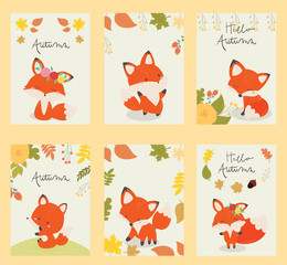 set of card autumn banner, background, flyer, placard with cute fox . poster, sticker. Vector template card.