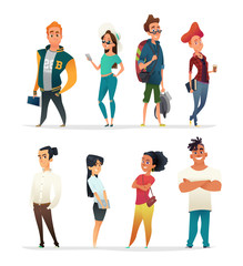 Characters collection of charming young people. Students of different nationalities in cartoon style. Vector designe.