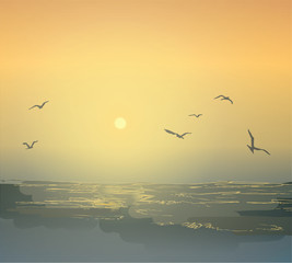 Graphic seascape. Seagulls and waves of the ocean. Dawn and sunset on the beach. Shades of sea water.