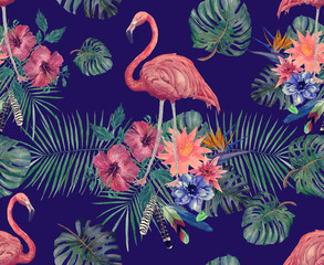 Watercolor seamless pattern of flamingo with leaves, flowers.