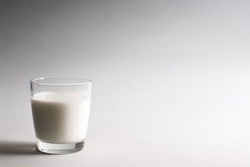 Glass of milk on a white background