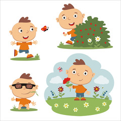 Vector set funny boy in different poses on summer meadow with flowers, isolated on white background.