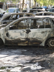 Completely burnt out cars