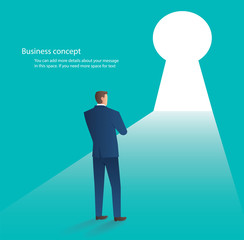 businessman standing in front of key hole door , business concept vector illustration