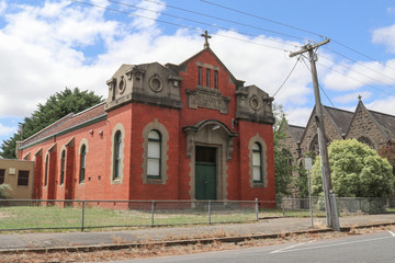 KYNETON, AUSTRALIA - February 11, 2018: St Mary's Parish Hall is attached to Our Lady of the Rosary Catholic Church in Kyneton