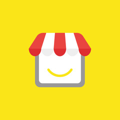 Vector icon concept of shop store with smiling mouth on yellow background