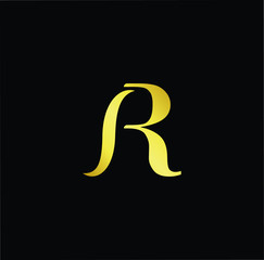 Abstract letter AR RA IR RI. minimal logo design template. Vector letter logo with gold and black color.