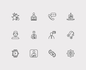 Customer service icons set. Export and customer service icons with model, recommend and client. Set of gesture for web app logo UI design.