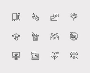 Customer service icons set. Delivery and customer service icons with survey, email and video. Set of talk for web app logo UI design.
