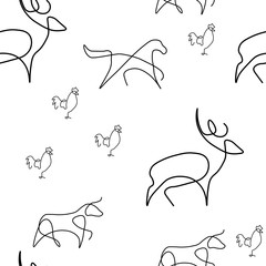 Farm animal pattern seamless