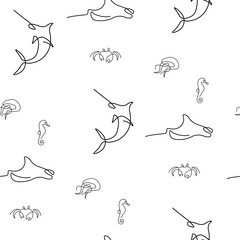 Marine inhabitant pattern seamless