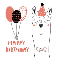 Foto auf Acrylglas Abbildungen Hand drawn birthday card with cute funny llama in a party hat, balloons, lettering quote Happy birthday. Isolated objects. Line drawing. Vector illustration. Design concept for children print.