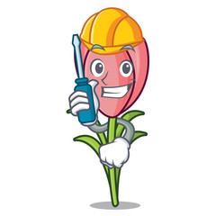 Automotive crocus flower mascot cartoon