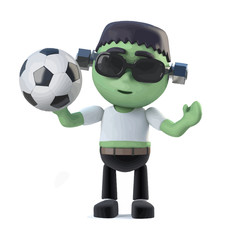 Vector 3d Child frankenstein monster loves to play football