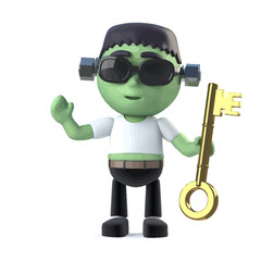 Vector 3d Child Frankenstein holding a gold key