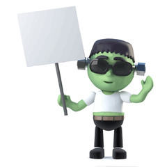 Vector 3d Cute Halloween frankenstein monster holding a blank placard