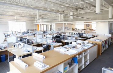 Central storage area in empty open plan archictect's office