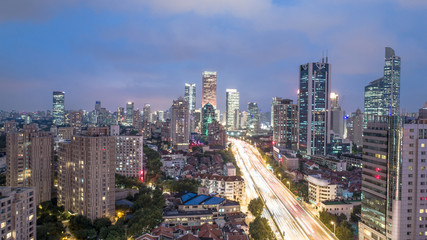Aerial View of Yanan Rd, Jingan district, Shanghai in the evening on a cloudy day