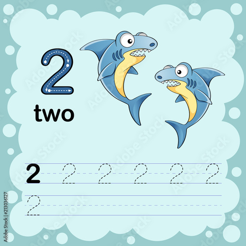 Educational illustration to learn how to count and write a number ...