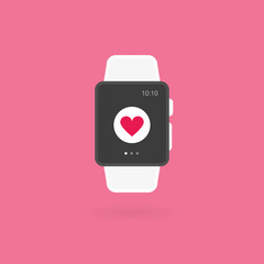 Smart watch isolated. Heart icon. Vector illustration, flat design