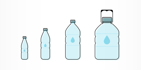 Plastic bottles with water icon set. Different sizes. Vector illustration, flat design