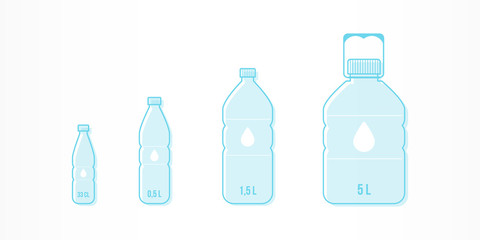 Plastic bottles with water icon set. Different sizes: 33cl, 0,5L, 1,5L, 5L. Vector illustration, flat design