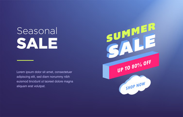 Sale banner template design. Web banner with neon light and modern 3d isometric infographic for your site. Isometric gradient style. Home page concept.