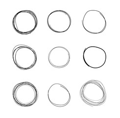 Vector Scribble Circles, Freehand Drawings Isolated on White Background, Black.