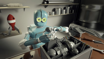 Retro Robot Repairs a broken mechanism, Android restores the detail. 3d Render