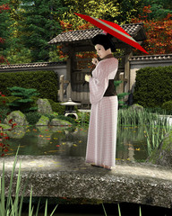 Young Japanese Woman in Pink Kimono with Parasol Standing in a Garden - illustration