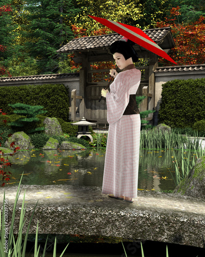 """Young Japanese Woman in Pink Kimono with Parasol Standing in a Garden - illustration"" Stock photo and royalty-free images on Fotolia.com - Pic 213039756"