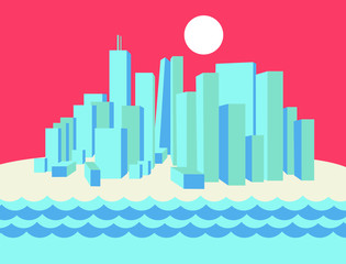 New York illustration flat design