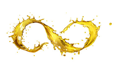 Olive or engine oil, Golden liquid pouring in form of infinity symbol, for design elements with clipping path.
